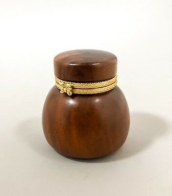 Vintage mahogany dark wood round box scent bottle holder gold trim retro casket