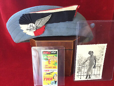 Vntg. TWA Airlines Stewardess Hat by Sherman & Sterling Silver Wing Pin, more
