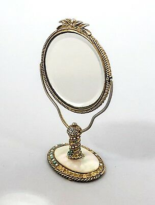 Vintage gold tone turquoise mother-of-pearl small swivel mirror Mirella Watson