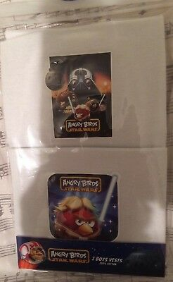 Boys NEW White ANGRY BIRDS STAR WARS  VESTS Cotton  7 - 8 years 1 pack 2 Vests