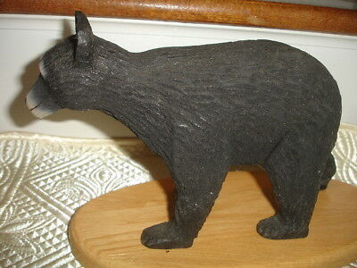 Hand Carved Bear Sculpture Statue Figure Collectible BLACK Bear ON STAND