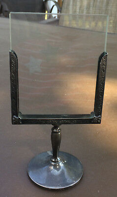 Antique Silver or Silverplate small PEDESTAL PICTURE FRAME* Art Nouveau