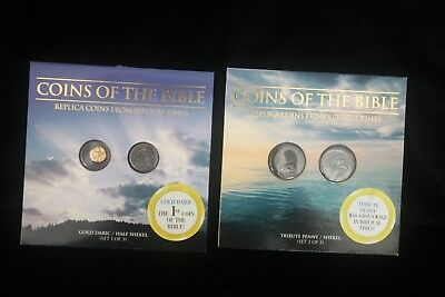 Coins Of The Bible Lot of 2 Tribute Penny, Shekel, Gold Daric & 1/2 Shekel MOC