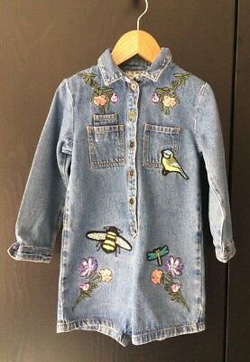 Next Girls Embroidered Denim Playsuit/ Jumpsuit/ Boilersuit, Age 3-4 Years