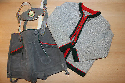 Vintage Gray Leather Lederhosen and Wool Sweater Child's Size Germany