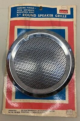 "Vtg NOS 5"" Round Speaker Grille Chrome With Mounting Ring New Unused"