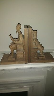 Vintage Book Ends Ouro Artesania Don Quixote & Sancho Panza Wood Carved Spain