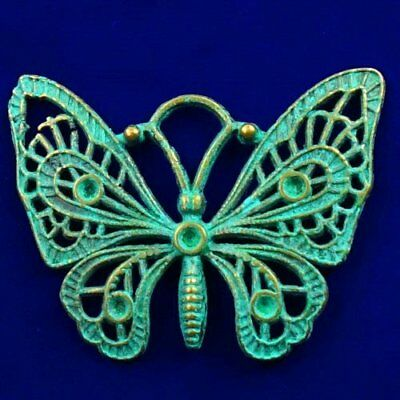 Carved Brass Bronze Butterfly Pendant Bead 46x37x2mm L90546