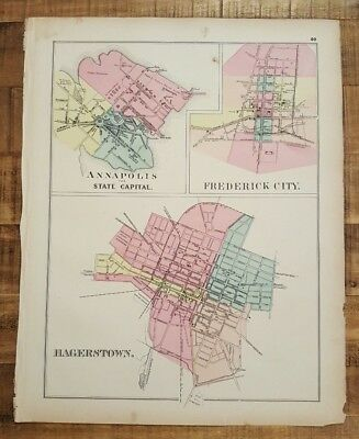 Antique MAP OF MD - ANNAPOLIS, FREDERICK, HAGERSTOWN / 1873 Topographical Atlas