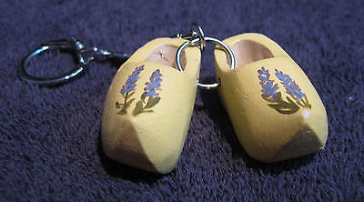 "Netherlands / Handcrafted Wooden Shoes ""Klompen"" Souvenir Keychain / FREE SHIP"