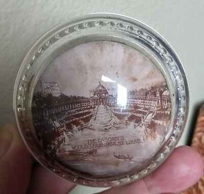 Antique Glass Dome Paperweight with a Picture of Worlds Fair 1904 St. Louis
