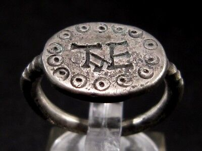 Extremely Rare Late Roman Silver Ring With Owner Monogram On The Top+++