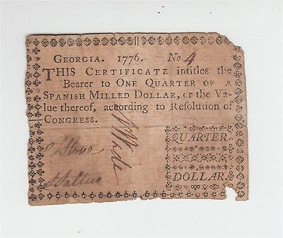 1776 Colonial Currency - Georgia $1/4 Dollar / One Quarter Note Bill / US USA