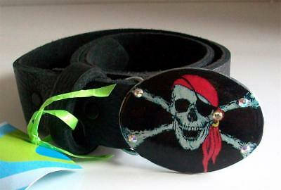"LEATHER BELT Punk Pirate CUSTOM DESIGNED w/BUCKLE 26"" BLACK Unique 1-Of-A Kind"