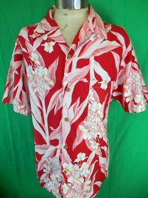 Vintage Red Pink & White Floral Cotton USA Made Hawaiian Aloha Resort Shirt L