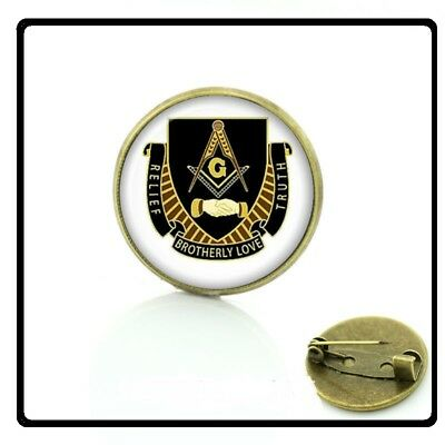 MASONIC Master Mason Square Compasses Glass Cabochon Freemason Lapel Pin hat NEW