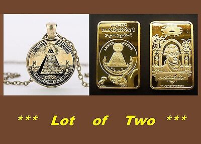 LOT 2...1 ILLUMINATI Pendant and 1 Illuminati Founder  Adam Weishaupt Art Bar