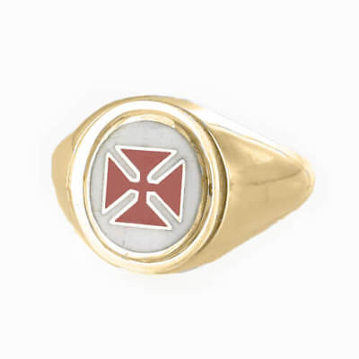 Reversible Gold Plated Solid Silver Knights Templar Masonic Ring