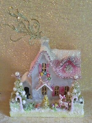 Christmas house, antique brooches, bottle brush trees, pearls RESERVED for Kim