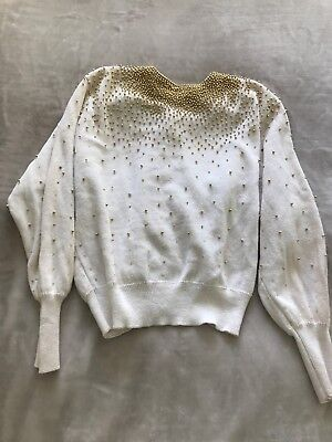 Vintage White Sweater Beaded Gold Size M-L