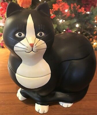 Sakura by Warren Kimble Hand-Painted Black & White Sitting Cat Cookie Jar