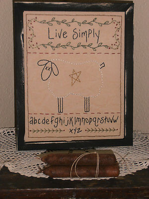 Primitive Stitchery, Live Simply, Rustic, Cabin Decor, Home Decor, Handmade