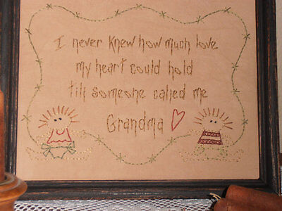 Primitive Stitchery, Someone Called Me Grandma, Rustic, Home Decor