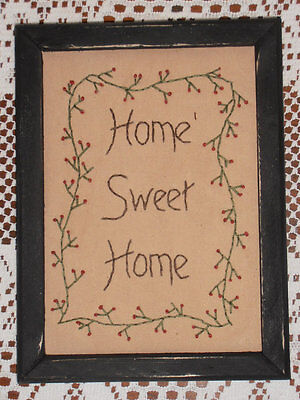 "Framed Primitive Stitchery, ""Home Sweet Home"", Hand Stitched, Sampler, Rustic"