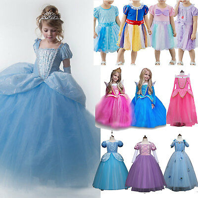 Kid Girl Princess Cinderella Snow White Disney Cosplay Costume Party Fancy Dress