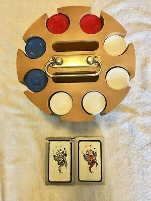 Vintage Wood Poker Chip Holder Caddy On Carousel Lazy Susan Base Plastic Chips