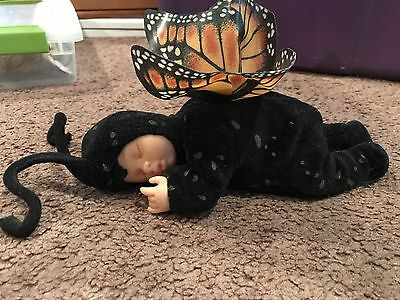 "Anne Geddes 1997 Sleeping Monarch Butterfly 9"" Doll"