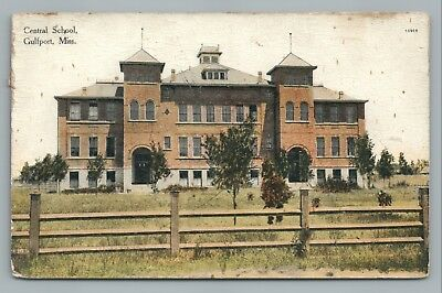Central School GULFPORT Mississippi—Rare Antique Postcard 1909