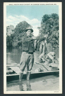 Vintage Postcard of Fishing Small Mouth Bass, Current River, DONIPHAN MISSOURI