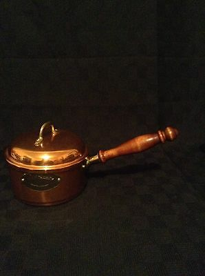 Vintage Rare Copper Dela Cuisine Sauce Pan With Lid Tin Lined Wooden Handle