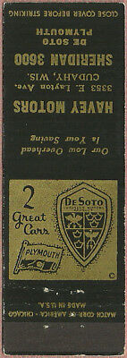 early DE SOTO and PLYMOUTH car dealer from CUDAHY wisconsin WI matchbook cover