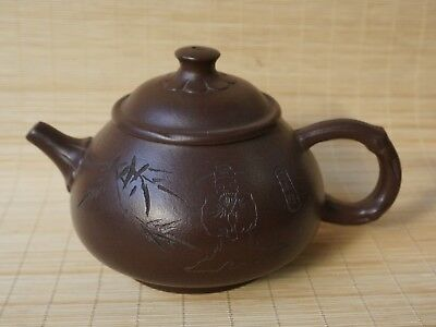 Chinese Exquisite Handmade Ancient people Yixing Zisha teapot Sand-fired pot