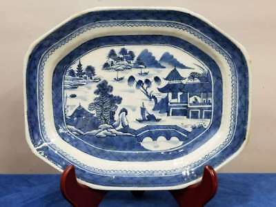 Antique Chinese Export Blue & White Canton Porcelain Platter 11.5""