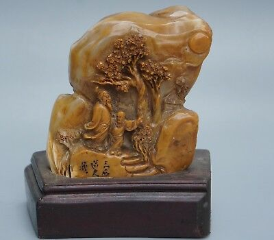 Chinese Exquisite Hand carved people landscape pattern Shoushan Stone seal