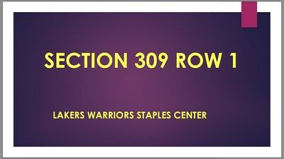1st Row TICKET 1/21/19 Los Angeles Lakers Golden State Warriors Staples Center
