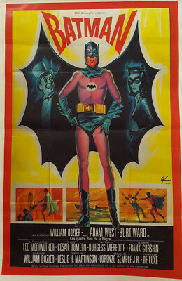 Vintage 1966 Adam West & Burt Ward BATMAN Movie Poster