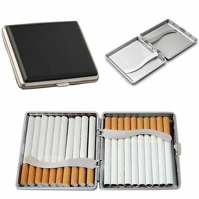Leather Metal Cigarette Pocket Tobacco 20 Smoke Holder Storage Case Box Black