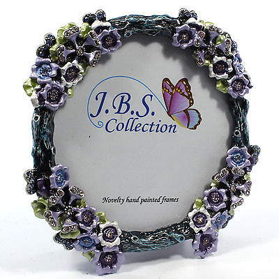 Jeweled flower bouquet antique look round photo frame, pewter enamel crystals