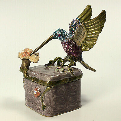 Jeweled hummingbird trinket box, Faberge  figurine, with crystals in multi