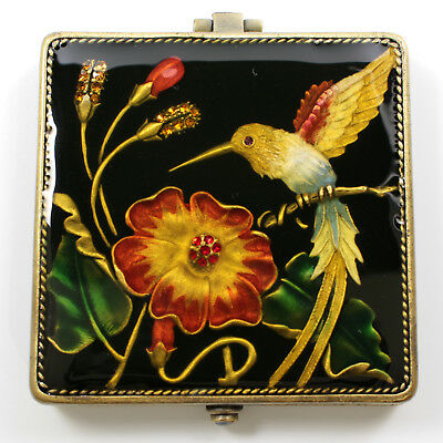 Jeweled square hummingbird motif compact mirror, enamel crystals in black,bronze
