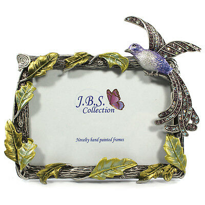 Bejeweled bird of paradise photo frame, enamel painted with crystals in blue