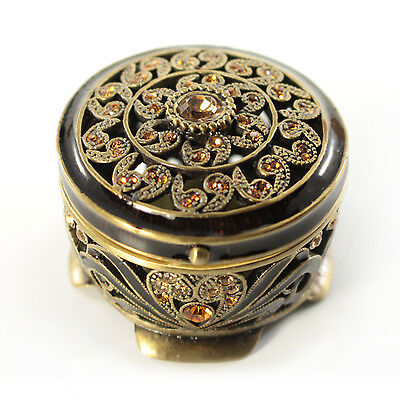 Bejeweled paisley pattern trinket box, Faberge  figurine with crystal in antique