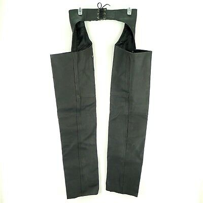 Genuine Leather Motorcycle Chaps Black Size XXS Metal Zippers Snaps