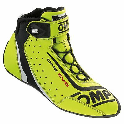 OMP One Evo Race Boots - FIA Approved - IC/806 - Fluro Yellow Size UK 13 Eur 48