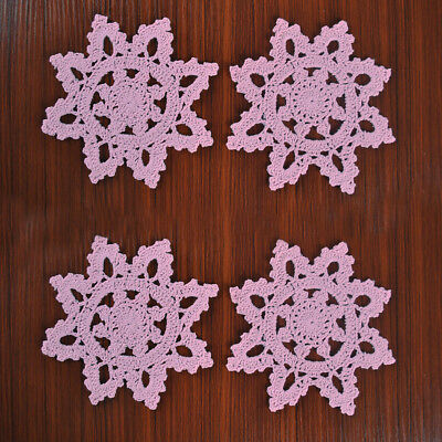 4Pcs/Lot Pink Vintage Hand Crochet Lace Doilies Small Snowflake Placemats 6inch