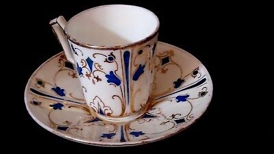 KTK Lotus Ware Knowles Taylor demitasse antique Blue Gold & white Cup saucer